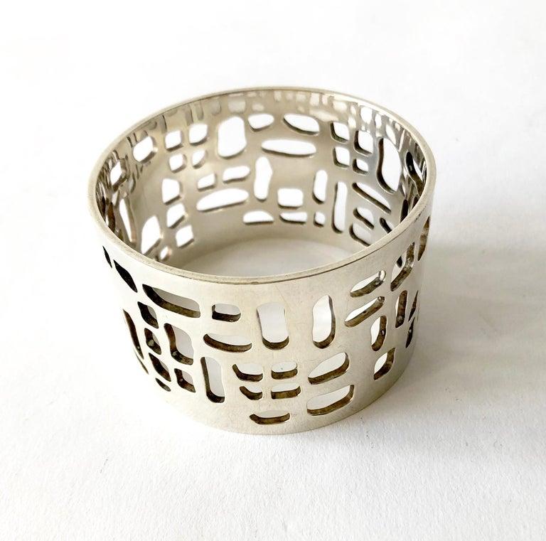 Women's Sven Haugaard Sterling Silver Danish Modernist Bangle Cuff Bracelet For Sale