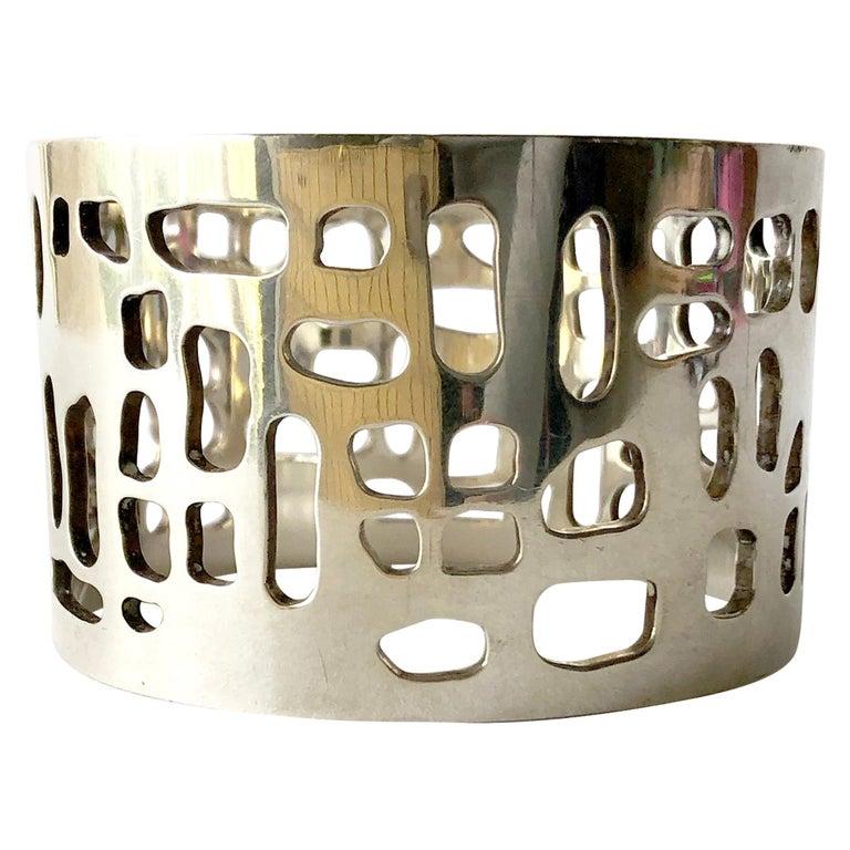 Sven Haugaard Sterling Silver Danish Modernist Bangle Cuff Bracelet For Sale