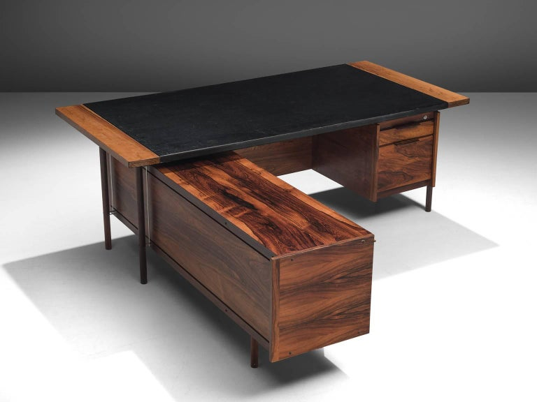 Sven Ivar Dysthe for Dokka Mobler, desk in rosewood, leather and lucite, Norway, 1960s.   This well crafted executive desk in rosewood is designed by Sven Ivar Dysthe. The clear, modest design of this well proportioned desk with left positioned