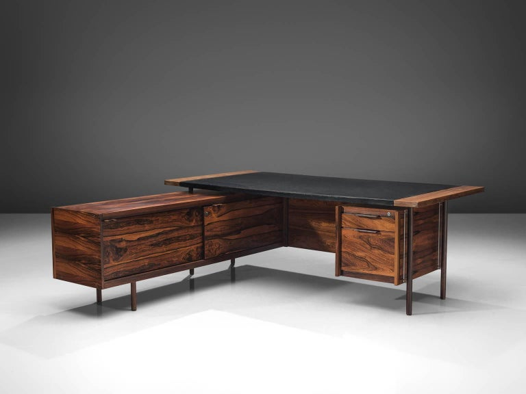 Scandinavian Modern Sven Ivar Disten Restored Corner Desk in Leather and Rosewood For Sale