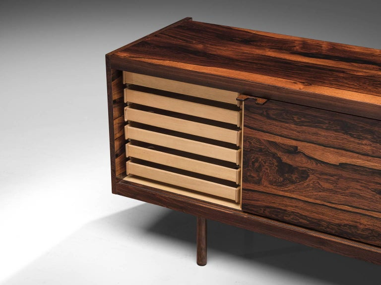 Sven Ivar Disten Restored Corner Desk in Leather and Rosewood In Good Condition For Sale In Waalwijk, NL