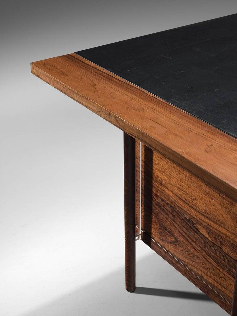 Mid-20th Century Sven Ivar Disten Restored Corner Desk in Leather and Rosewood For Sale