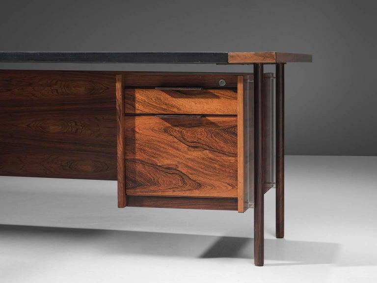Sven Ivar Disten Restored Corner Desk in Leather and Rosewood For Sale 1