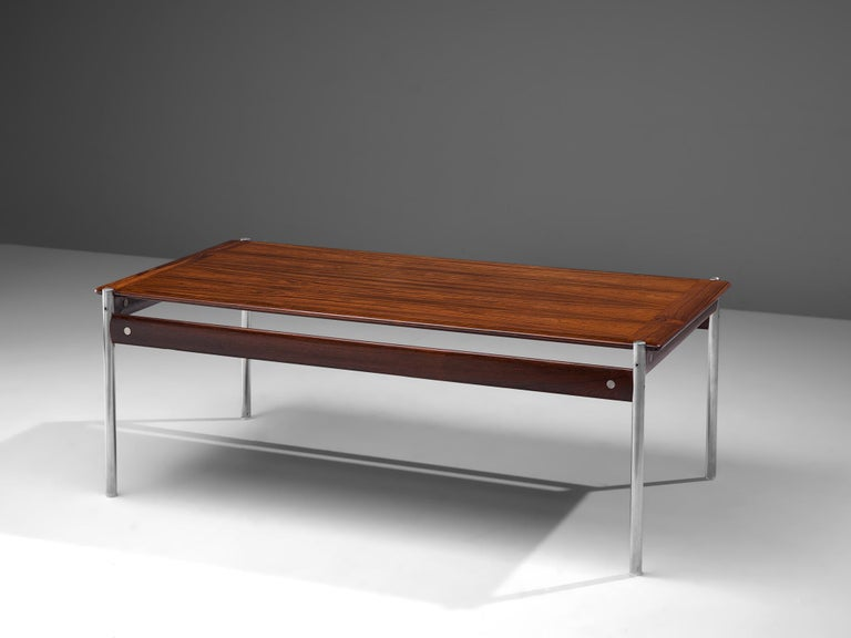 Sven Ivar Dysthe for Dokka Mobler, cocktail table model 1001, rosewood and steel, Norway, 1959.
