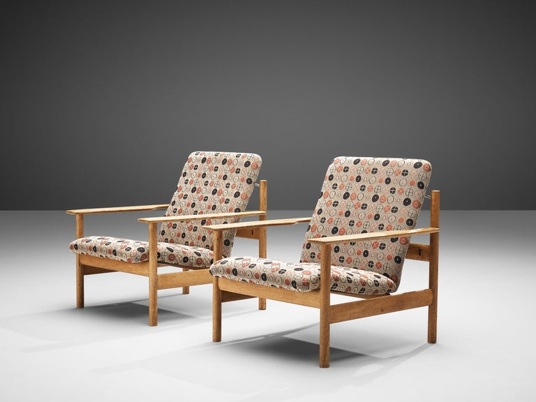 Fabric Sven Ivar Dysthe for Dokka Møbler Pair of Lounge Chairs in Charles&Ray Eames Fab For Sale
