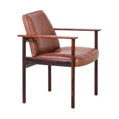 Sven Ivar Dysthe Model-496 Rosewood and Leather Armchair for Dokka Møbler