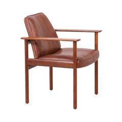 Sven Ivar Dysthe Model-496 Walnut & Leather Armchair for Dokka Møbler
