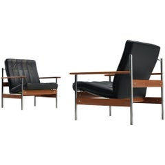 Sven Ivar Dysthe Pair of Lounge Chairs in Original Black Leather