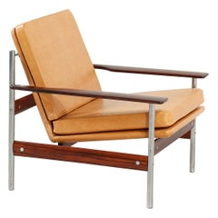 Sven Ivar Dysthe Rosewood and Leather Lounge Chair for Dokka Möbler