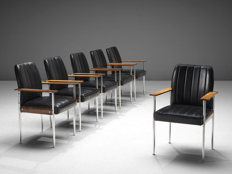Norwegian Sven Ivar Dysthe Set of Dining Chairs in Black Leather For Sale