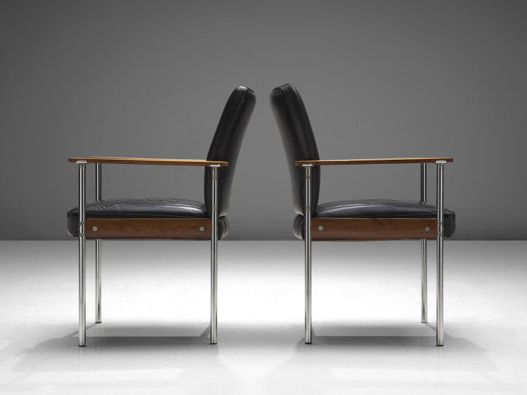 Mid-20th Century Sven Ivar Dysthe Set of Dining Chairs in Black Leather For Sale