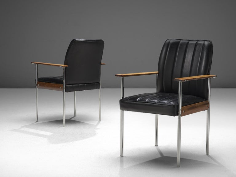 Sven Ivar Dysthe Set of four Dining Chairs in Black Leather In Good Condition For Sale In Waalwijk, NL