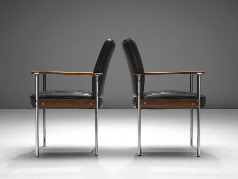 Mid-20th Century Sven Ivar Dysthe Set of four Dining Chairs in Black Leather For Sale