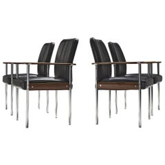 Sven Ivar Dysthe Set of four Dining Chairs in Black Leather