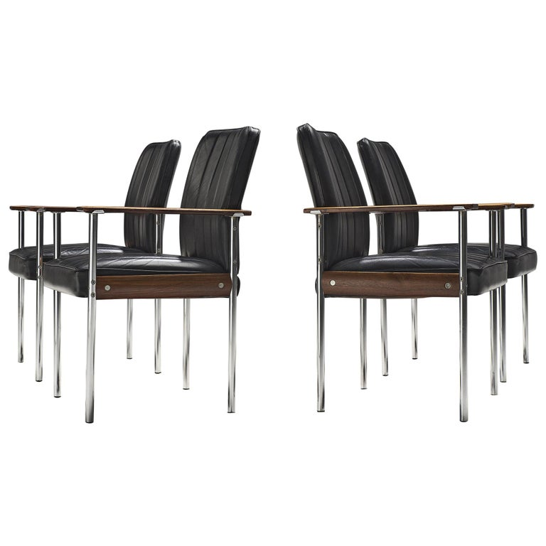 Sven Ivar Dysthe Set of four Dining Chairs in Black Leather For Sale