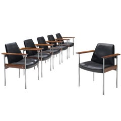 Sven Ivar Dysthe Set of Six Chairs in Black Leather and Rosewood