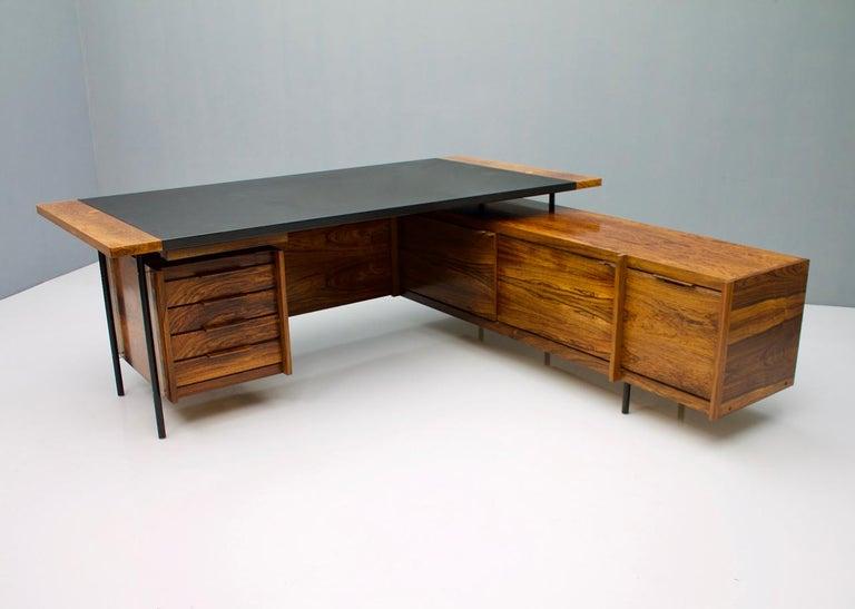 Scandinavian Modern Sven Ivar Dysthe Writing Desk with Sideboard by Dokka Norway 1960s For Sale