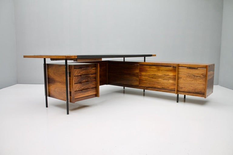 Norwegian Sven Ivar Dysthe Writing Desk with Sideboard by Dokka Norway 1960s For Sale