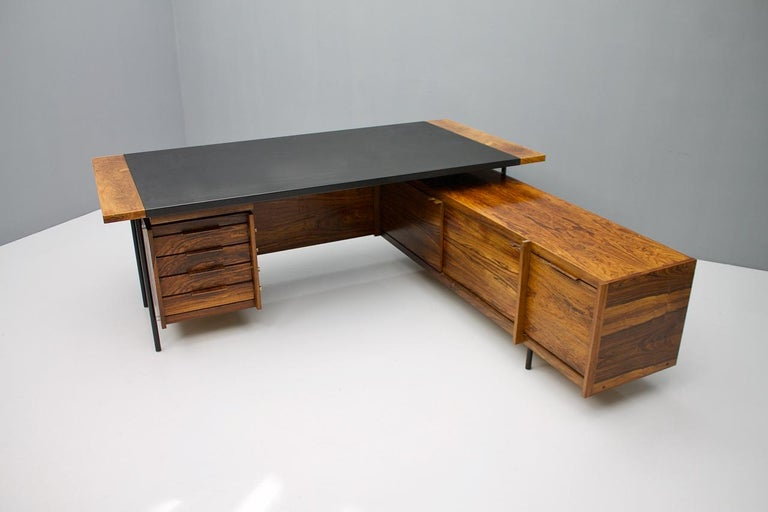 Leather Sven Ivar Dysthe Writing Desk with Sideboard by Dokka Norway 1960s For Sale