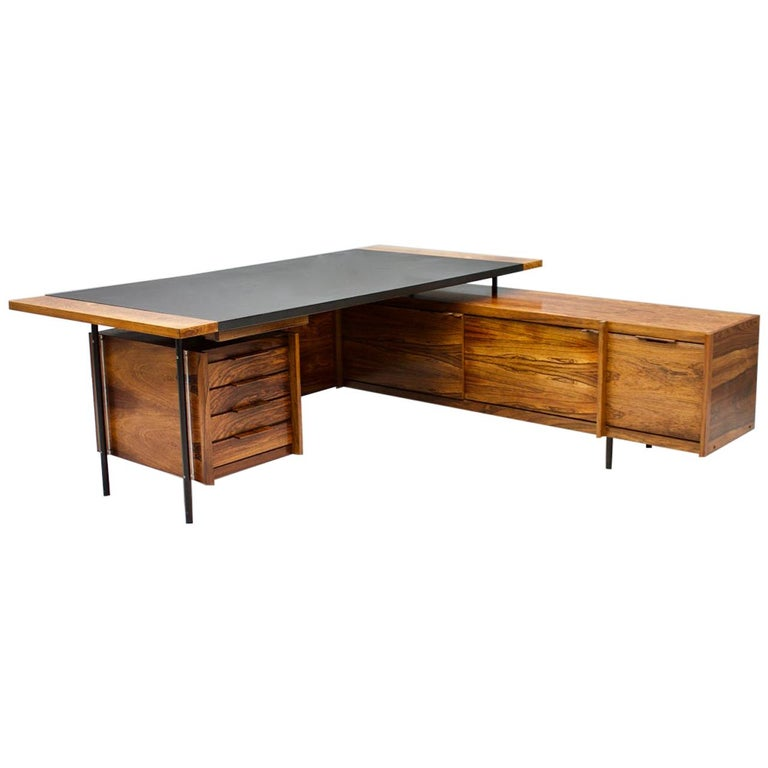 Sven Ivar Dysthe Writing Desk with Sideboard by Dokka Norway 1960s For Sale