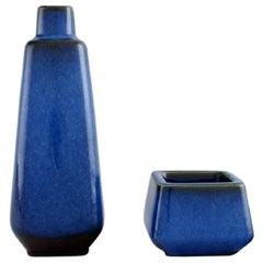 Sven Jonson for Gustavsberg, Lagun Vase and Bowl in Glazed Stoneware