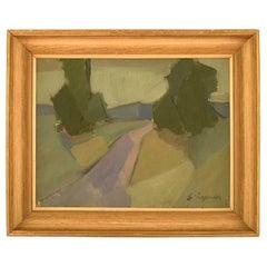 Sven Lignell, Oil on Canvas, Modernist Landscape, 1960s