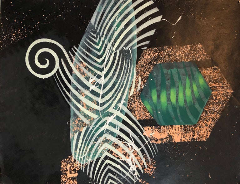 This piece is an abstract tropical landscape. done on tar paper. signed and dated with bright green foliage and a gold colored paint. this piece is on the website of the Pollock Krasner foundation. It came with a photocopy of a letter from a