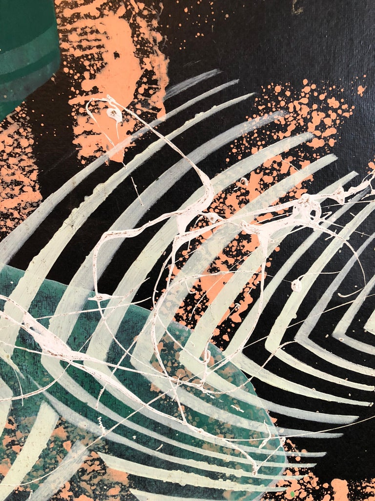 Large Mod Acrylic Painting on Tar Paper Tropical Abstract Modernist Master For Sale 2