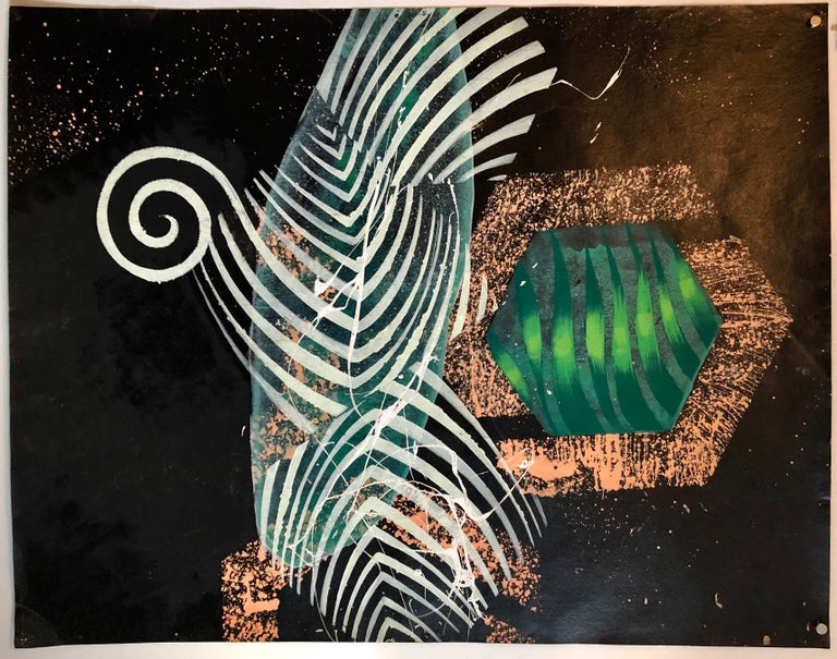Large Mod Acrylic Painting on Tar Paper Tropical Abstract Modernist Master For Sale 6