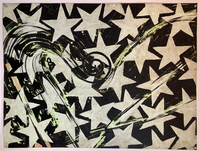 Large Mod Acrylic Painting Pop Art Star Burst Abstract Modernist Master For Sale 7