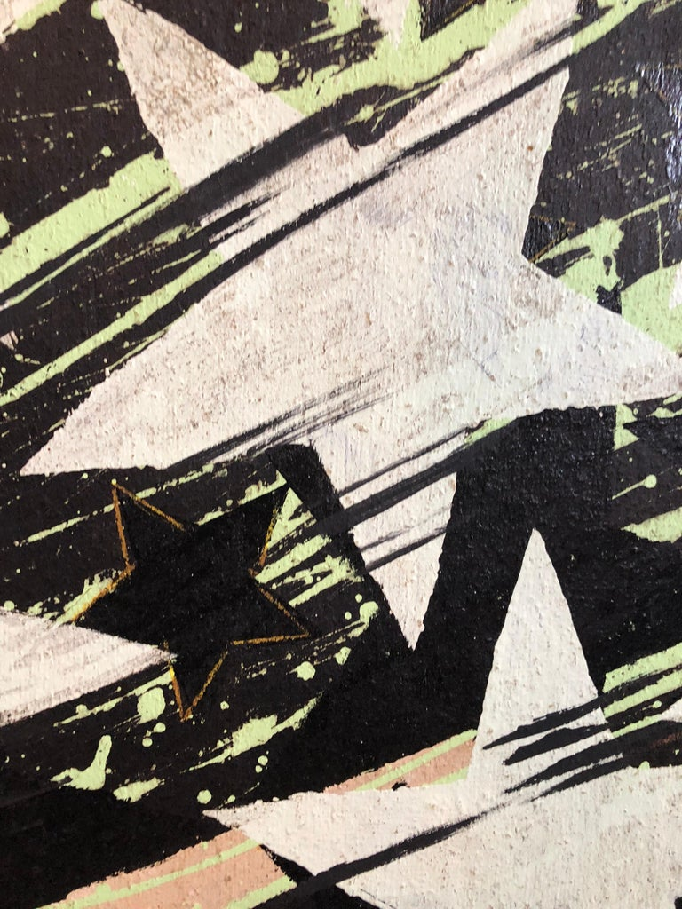 Large Mod Acrylic Painting Pop Art Star Burst Abstract Modernist Master - Black Still-Life Painting by Sven Lukin