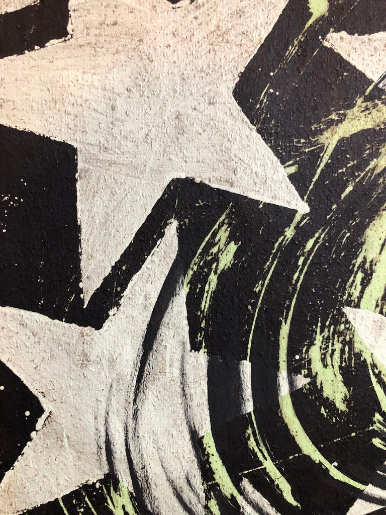 This piece is an abstract starburst pattern done on tar paper. this is not signed and dated but it came in with another two pieces by him, one of which is on the website of the Pollock Krasner foundation. It came with a photocopy of a letter from a