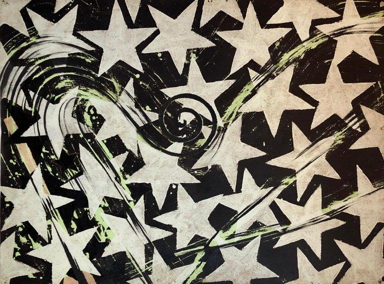 Sven Lukin Still-Life Painting - Large Mod Acrylic Painting Pop Art Star Burst Abstract Modernist Master