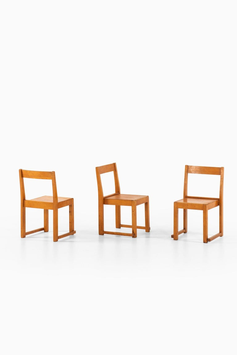 Set of 3 children chairs designed by Sven Markelius. Produced in Sweden.