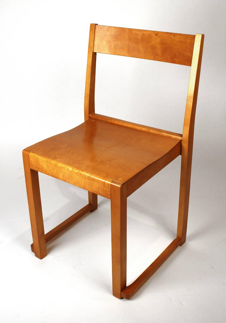 Swedish Sven Markelius Helsingborg Theater Birch Dining Chairs For Sale