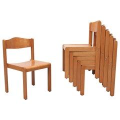 Sven Markelius Style Birch Stacking Chairs