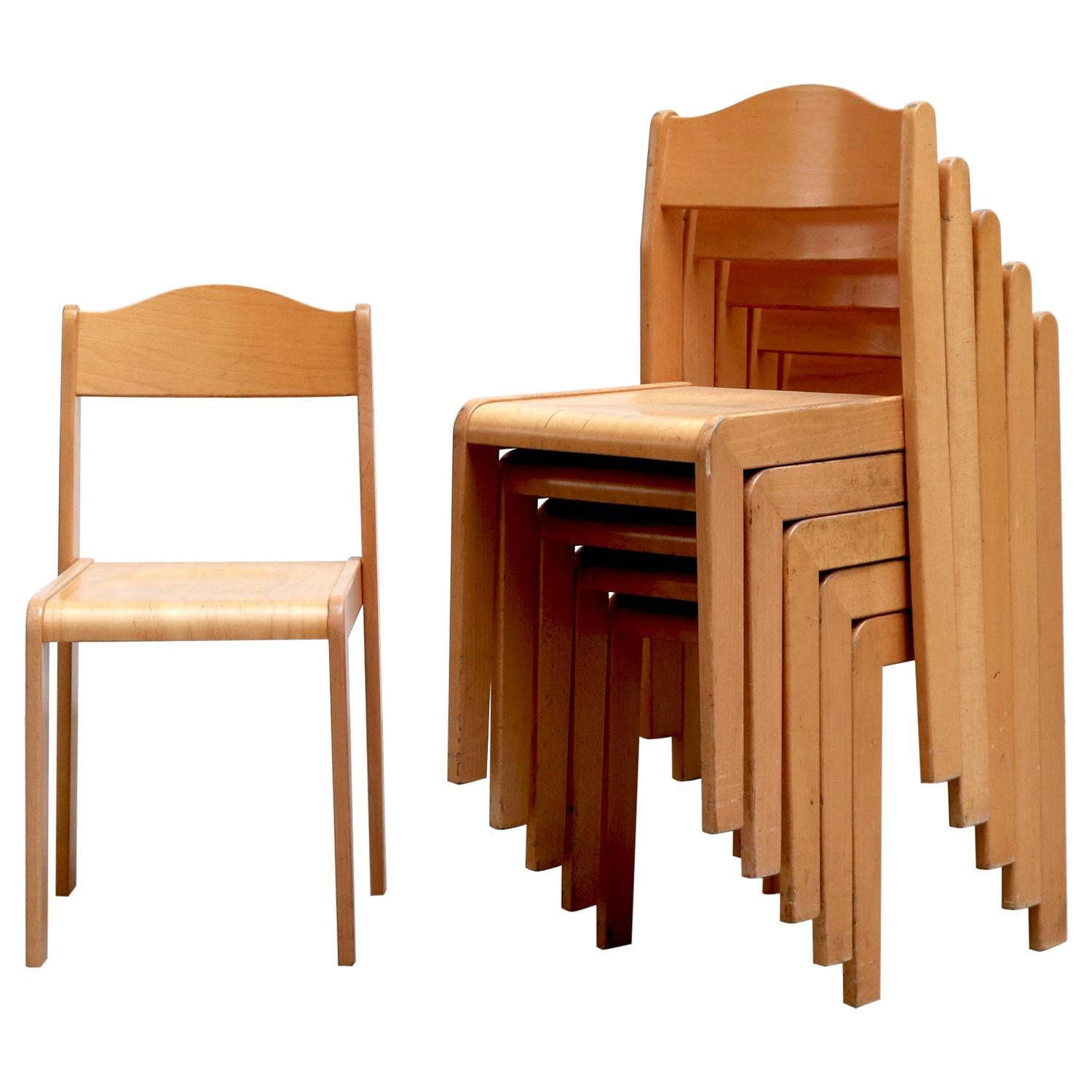 Sven Markelius Style Birch Stacking Chairs with Hump Backs