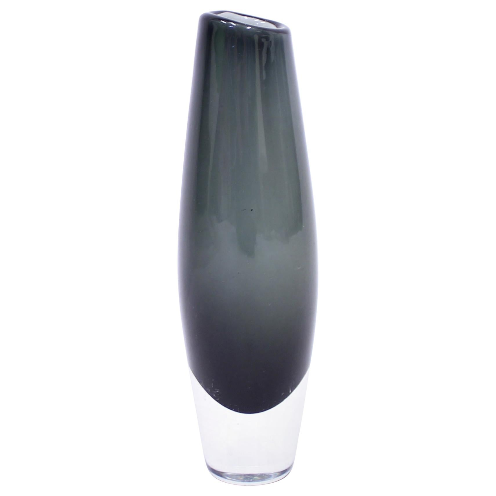 Sven Palmqvist, Grey Glass Vase for Orrefors, 1950s