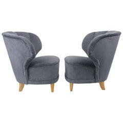 Sven Staaf Swedish Modern, Pair of Late 1940s Lounge Chairs, Reupholstered