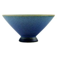 Sven Wejsfelt for Gustavsberg Studio Hand, Unique Bowl on Foot in Glazed Ceramic