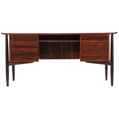 Svend A. Madsen Executive Rosewood Desk with Bookcase for H.P. Hansen