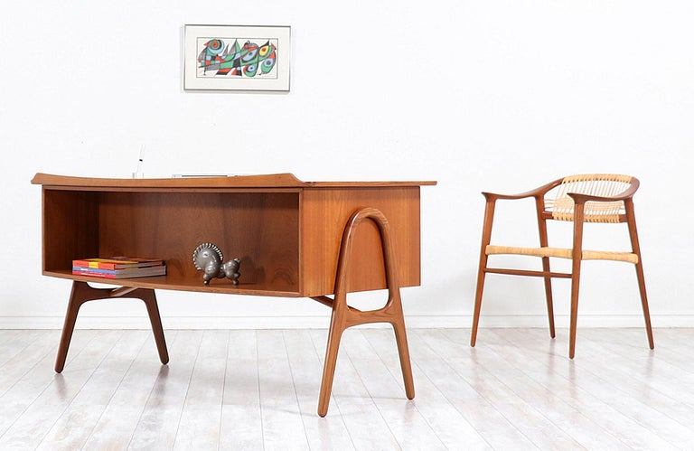 Danish Svend A. Madsen Executive Teak Desk with Bookshelf for H.P. Hansen For Sale