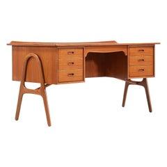 Svend A. Madsen Executive Teak Desk with Bookshelf for H.P. Hansen