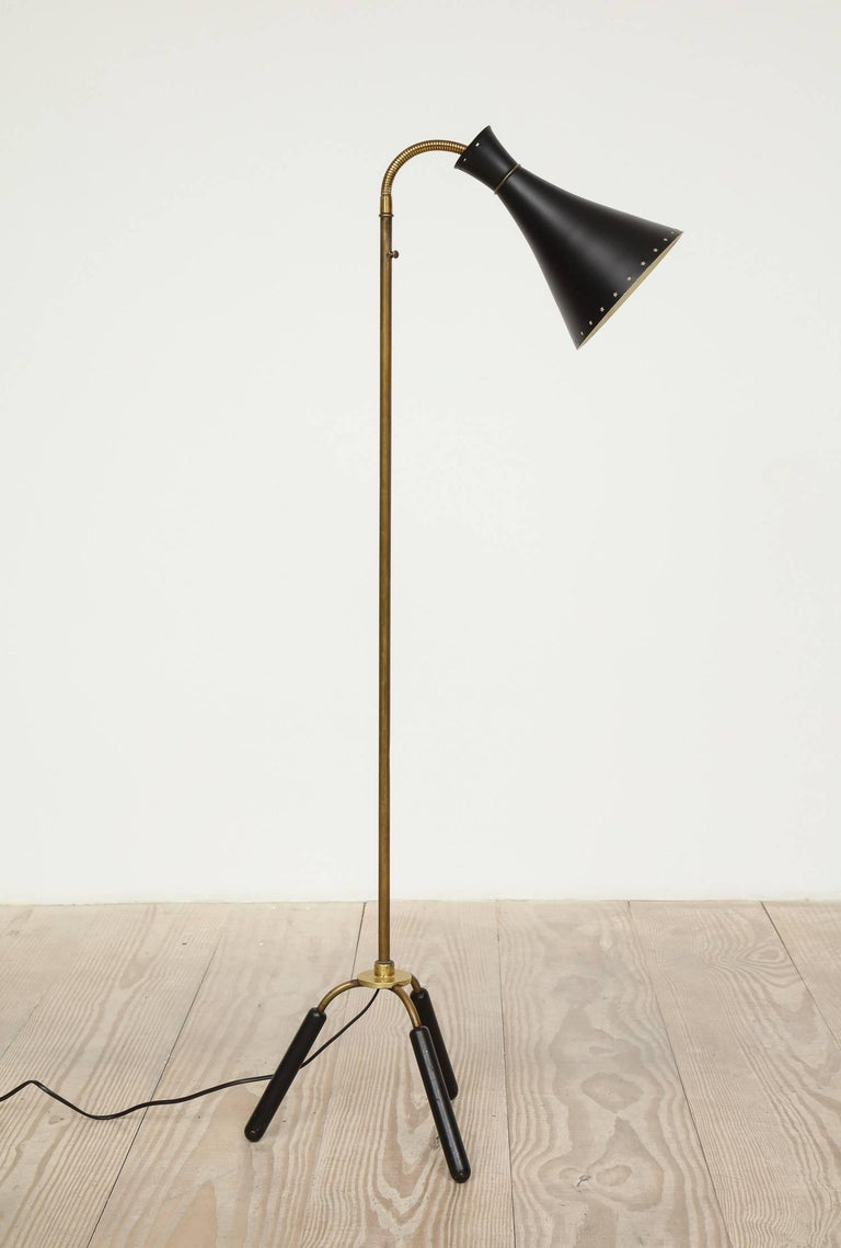 Svend-Åage Holm Sorensen, Danish Adjustable Standing Lamp, Denmark, Circa 1960 For Sale 3