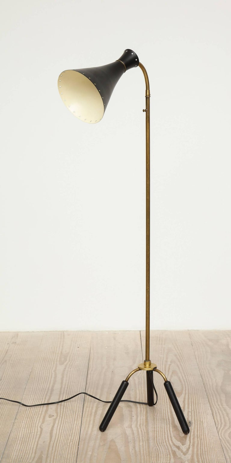 Svend-Åage Holm Sorensen, Danish Adjustable Standing Lamp, Denmark, Circa 1960 For Sale 1