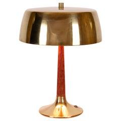 Svend Aage Holm Sørensen Model 4109 Midcentury Desk Lamp, Teak & Brass, Denmark