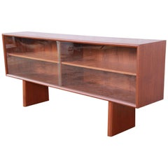 Svend Aage Larsen for Faarup Danish Modern Teak Glass Front Bookcase or Credenza