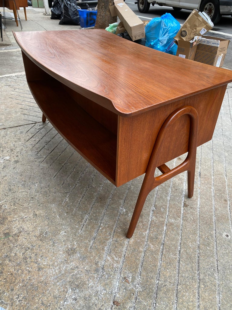 Svend Aage Madsen Teak Desk with Front Bookcase In Good Condition In Philadelphia, PA