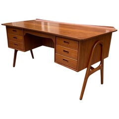 Svend Aage Madsen Teak Desk with Front Bookcase