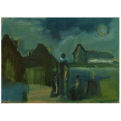 Svend Aage Tauscher, Listed Danish Artist, Church in Landscape with People